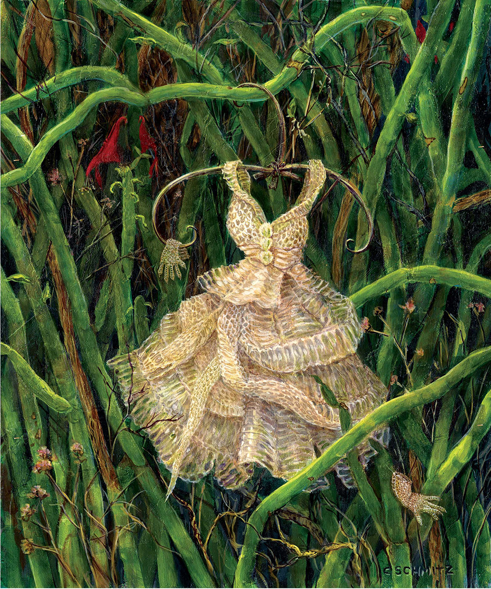 Dress and Gloves Found Among the Pedilanthus